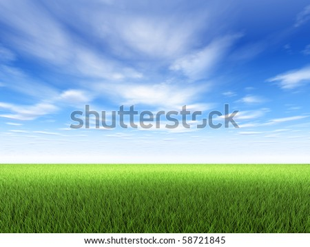 Field of fresh green grass and blue sky with clouds - stock photo