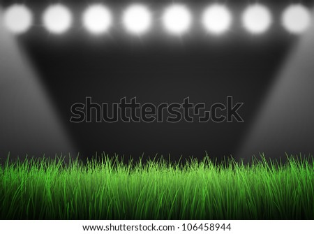Field of grass with spotlights