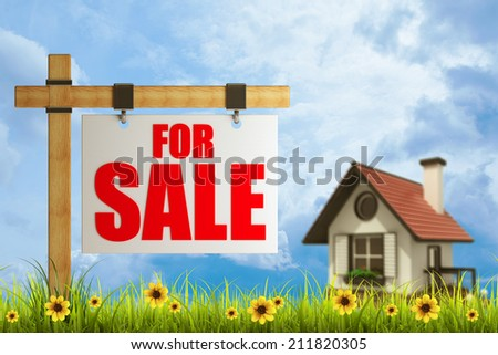 Field of green grass and sky with For sale sign  High resolution 3d  - stock photo