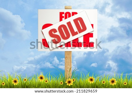 Field of green grass and sky with For sale (sold) sign  High resolution 3d  - stock photo