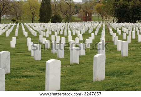 Field of headstones at Arlington National Cemetery in Washington DC