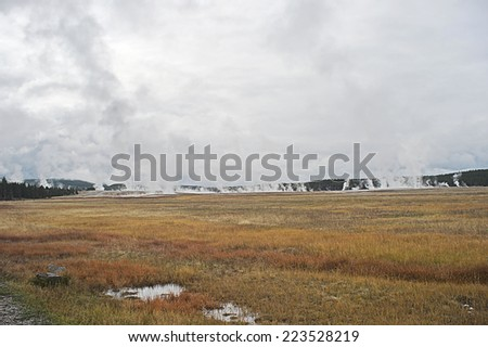 field of hot springs - stock photo