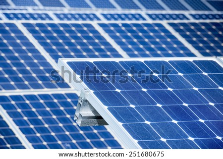 Field of Photovoltaic Solar Panels For Renewable Electrical Energy Production