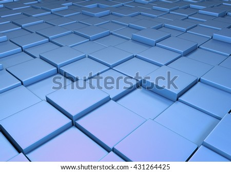 Field of reflective metallic blue tiles at different heights - stock photo