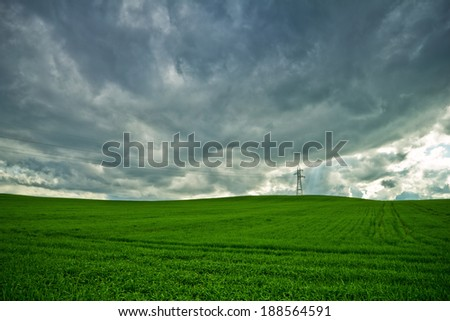 Field of wheat and storm clouds - stock photo