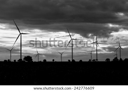 Field of wind turbine in back and white, Thailand - stock photo