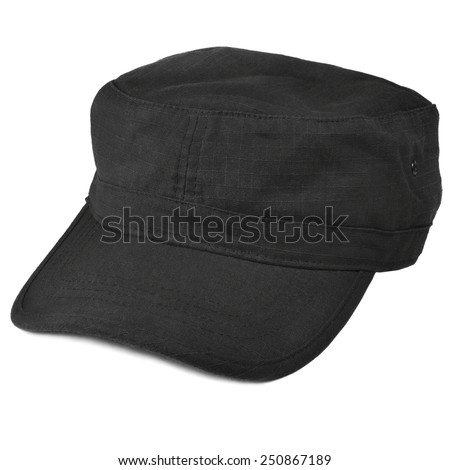 Field patrol cap macro closeup, isolated large detailed black rip-stop nylon cotton police security guard fabric texture, crumpled, wrinkled textured ripstop soft clothing pattern - stock photo