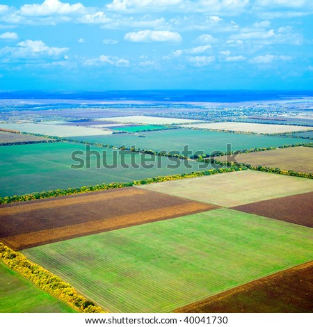 Field pattern. View from above. - stock photo