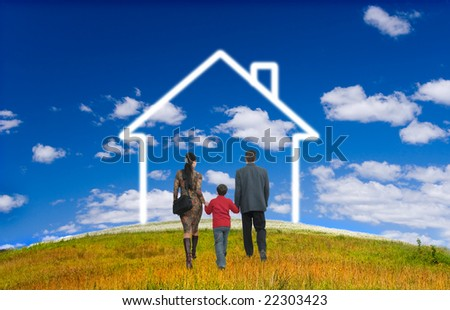 field, sky, herb, yellow, green, people, family - stock photo
