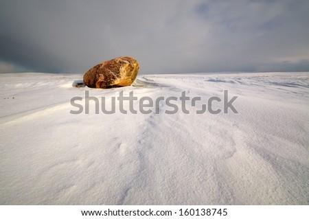 Field stone winter on the snow - stock photo