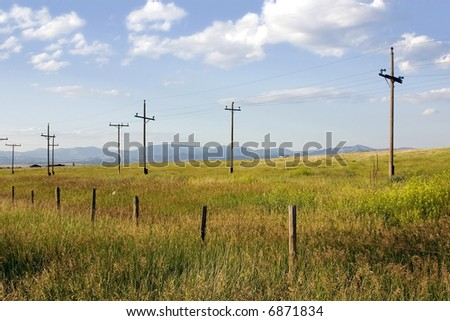 Field with Electric Poles in Helena Montana