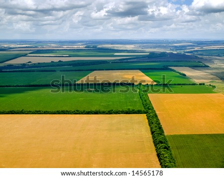 Fields from above. - stock photo