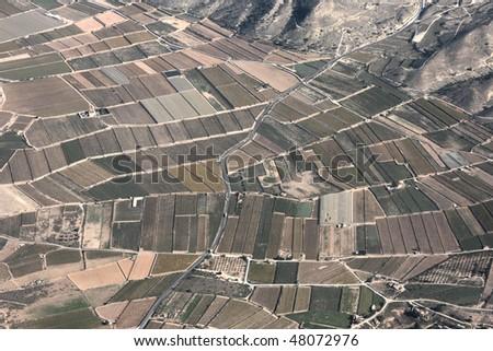 Fields in Spain - aerial photo taken near Alicante. Dry Mediterranean landscape. - stock photo