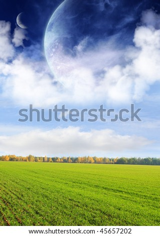 Fields of a far planet - stock photo