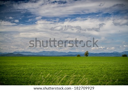 Fields of Vermont looking over at the Adirondacks - stock photo