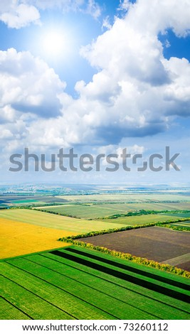 Fields pattern. View from above. - stock photo