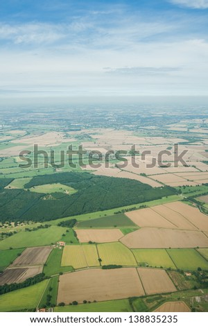 fields seen from a plane - stock photo