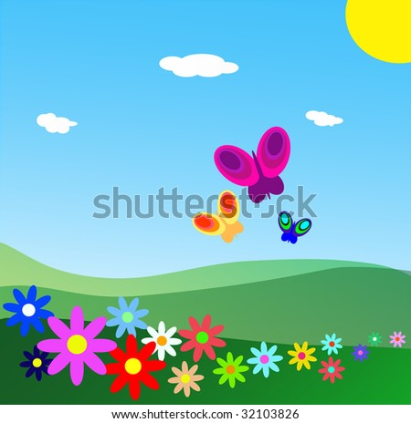 Fields with flowers under a blue sky. Butterflies flying and the sun shining - stock photo