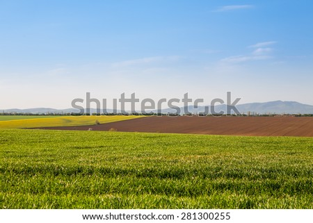 Fields with growing agricultural crops with hills in the background and beautiful blue sky - stock photo