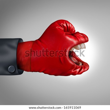 Fierce competitor business concept as a communication symbol of making your voice heard as a red boxing glove with a human mouth screaming an important message asserting leadership and dominance. - stock photo
