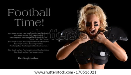 Fierce Football Player Yelling with Sample Text Space to the left - stock photo