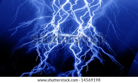 fierce lightning on a blue background