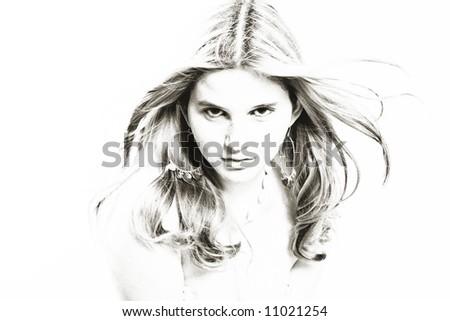 fierce young woman - stock photo