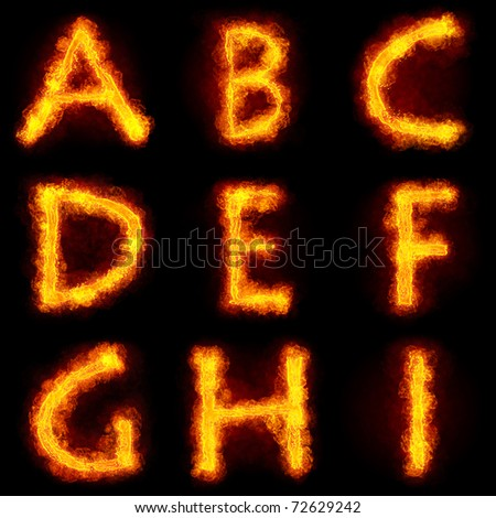 Fiery Alphabet Set. Flamy font on black background - stock photo