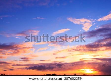 Fiery Backdrop Burning Skies  - stock photo