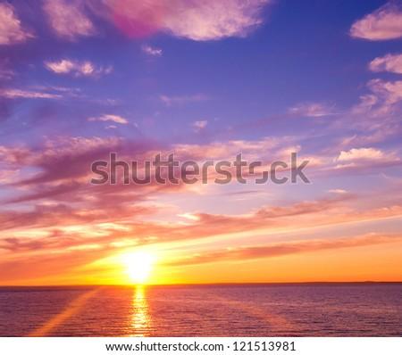 Fiery Backdrop Sunset Paradise - stock photo