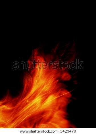 fiery background isolated on black - stock photo