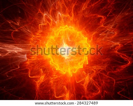 Fiery ball lightning, computer generated abstract fractal background - stock photo