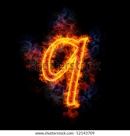 Fiery, burning letter q