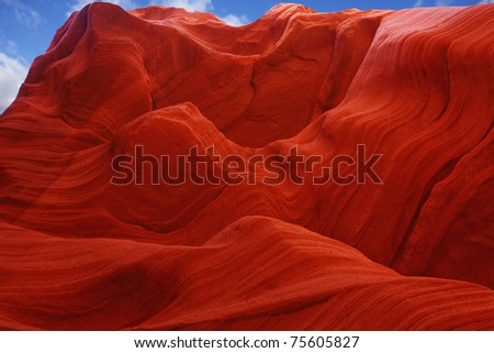 Fiery color in the stone. The famous Antelope Canyon in the Navajo Indian Reservation. U.S - stock photo