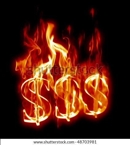 Fiery 3D Dollar Signs. - stock photo