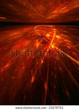 Fiery Electrons - 3D fractal landscape - stock photo