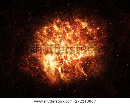 Fiery Explosion in Space - Elements of this Image Furnished by NASA - stock photo