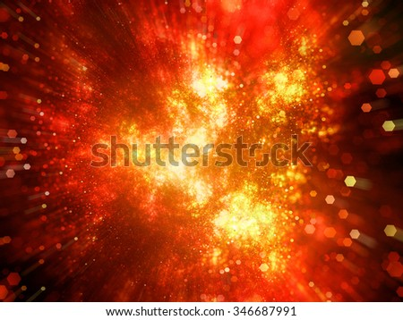 Fiery explosion in space with particles, computer generated abstract background - stock photo