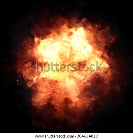 Fiery explosion over a black background. - stock photo
