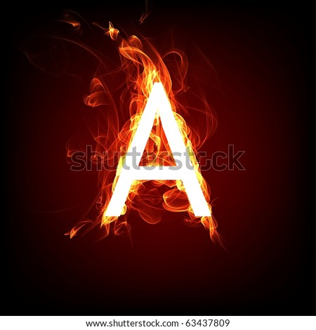 Fiery font for hot flame design. Letter A - stock photo