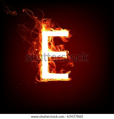 Fiery font for hot flame design. Letter E - stock photo
