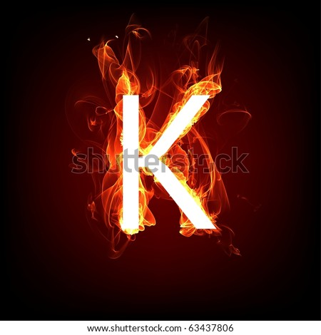 Fiery font for hot flame design. Letter K - stock photo