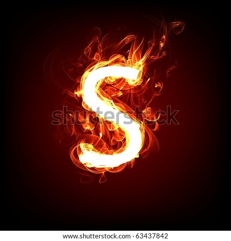 Fiery font for hot flame design. Letter S - stock photo