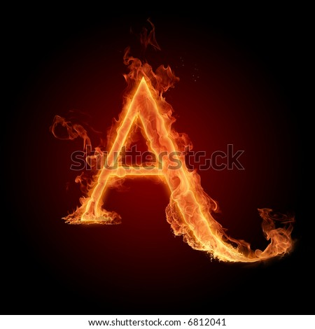 Fiery font. Letter A - stock photo