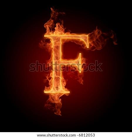 Fiery font. Letter F - stock photo