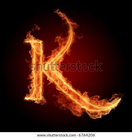 Fiery font. Letter K - stock photo