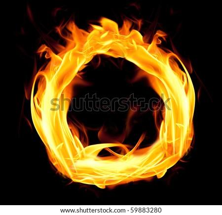 Fiery font. Letter O - stock photo