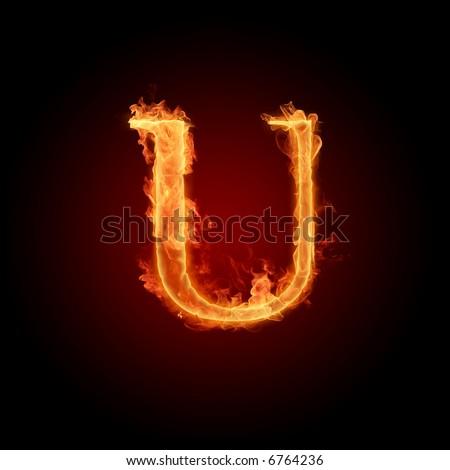 Fiery font. Letter U - stock photo
