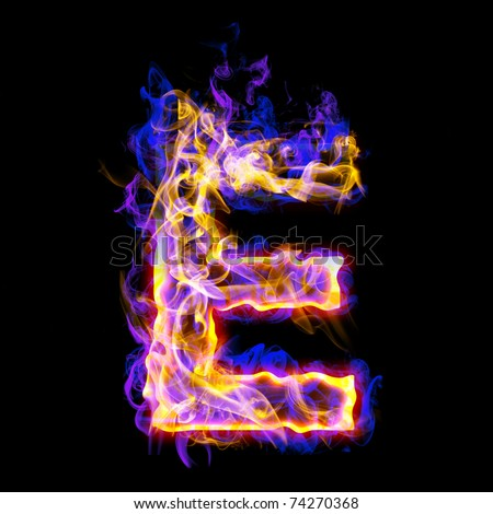 Fiery font with rose and blue. Letter E - stock photo