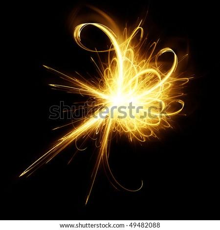 Fiery fractal - stock photo